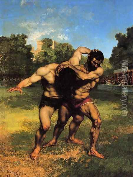 The Wrestlers, 1853 Oil Painting - Gustave Courbet