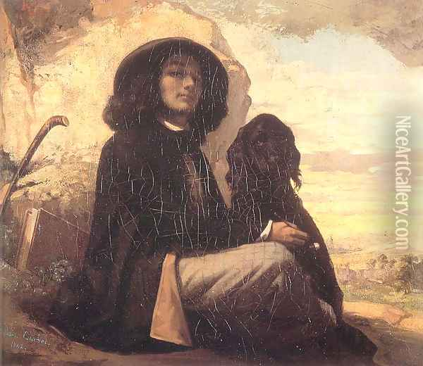 Self Portrait (or Courbet with a Black Dog) Oil Painting - Gustave Courbet
