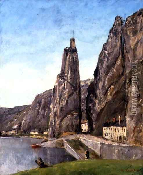 The Rock at Bayard, Dinant, Belgium, c.1856 Oil Painting - Gustave Courbet