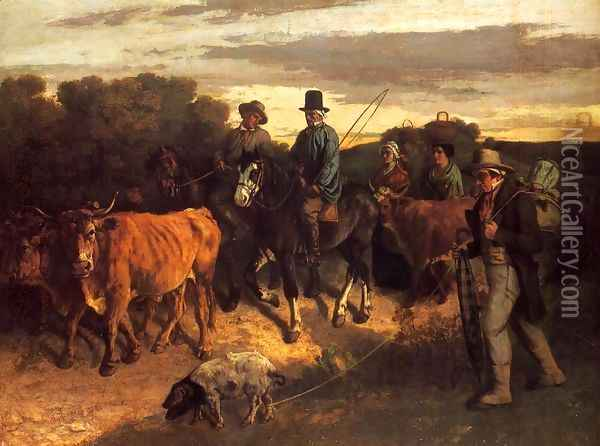 The Peasants of Flagey Returning from the Fair, 1850-55 Oil Painting - Gustave Courbet