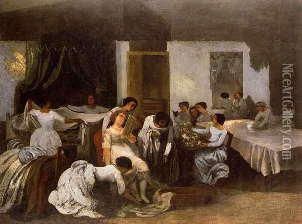 Dressing the Dead Girl Oil Painting - Gustave Courbet