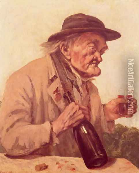 Old Man with a glass of wine Oil Painting - Gustave Courbet