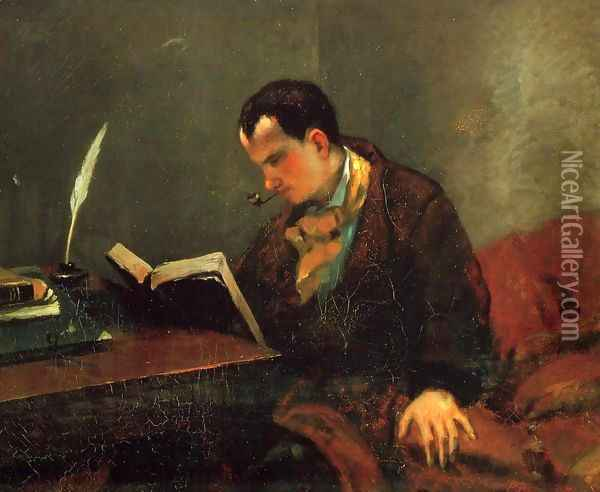 Portrait of Charles Baudelaire (1821-67) 1847 Oil Painting - Gustave Courbet