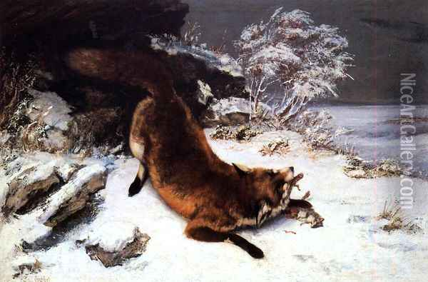 Fox in the Snow Oil Painting - Gustave Courbet