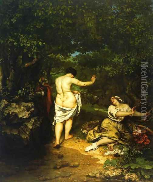 The Bathers Oil Painting - Gustave Courbet