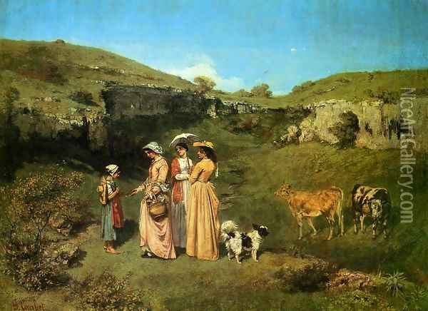 The Young Ladies of the Village Oil Painting - Gustave Courbet