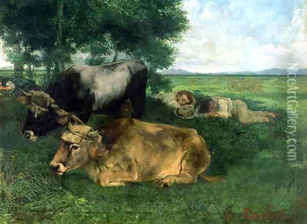 La Siesta Pendant la saison des foins (and detail of animals sleeping under a tree), 1867 Oil Painting - Gustave Courbet