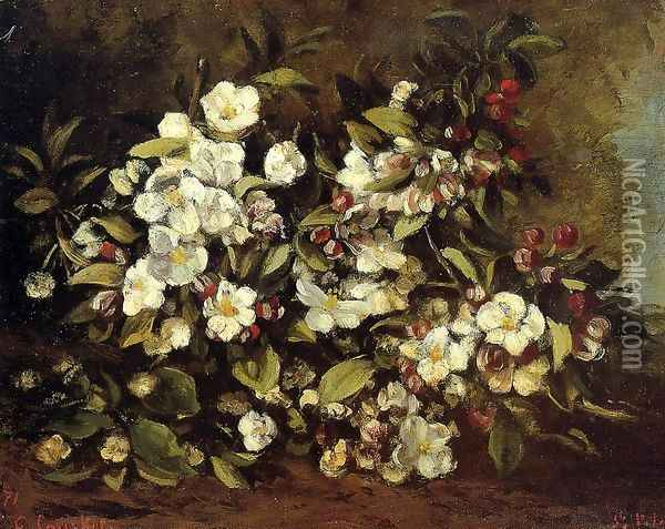 Flowering Apple Tree Branch Oil Painting - Gustave Courbet