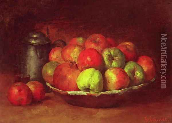 Still Life with Apples and a Pomegranate, 1871-72 Oil Painting - Gustave Courbet