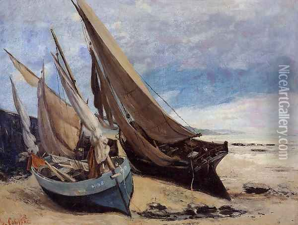 Fishing Boats on the Deauville Beach Oil Painting - Gustave Courbet