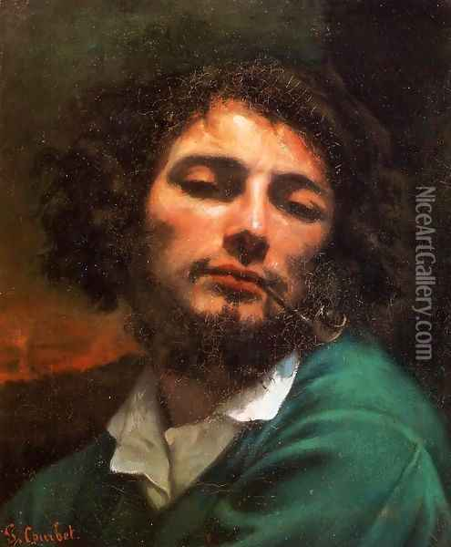 Portrait of the Artist (or Man with a Pipe) Oil Painting - Gustave Courbet