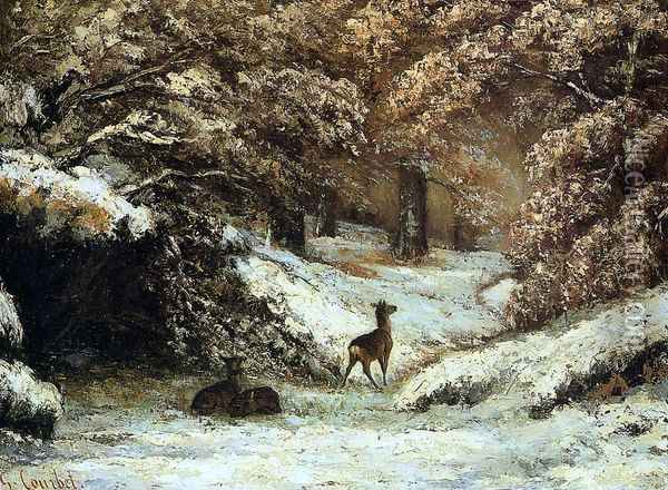 Deer Taking Shelter in Winter Oil Painting - Gustave Courbet