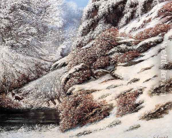 Deer in a Snowy Landscape, 1867 Oil Painting - Gustave Courbet