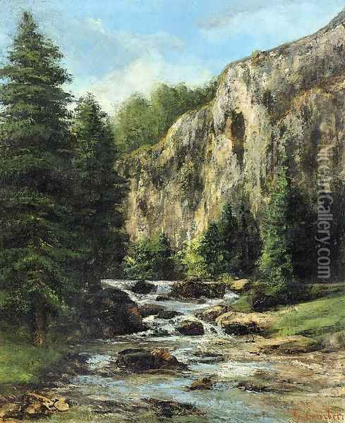 Study for 'Landscape with Waterfall' Oil Painting - Gustave Courbet