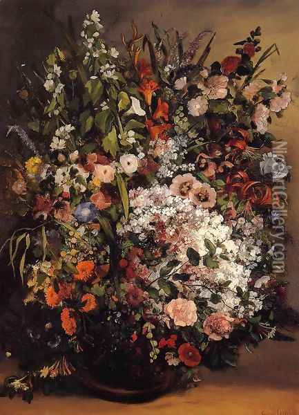 Bouquet of Flowers in a Vase Oil Painting - Gustave Courbet