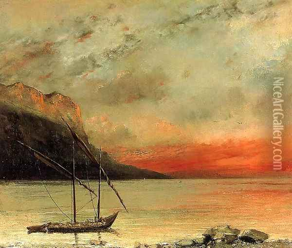 Sunset over Lake Leman, 1874 Oil Painting - Gustave Courbet