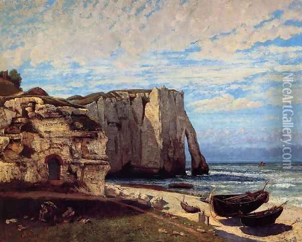 The Cliffs at Etretat after the storm, 1870 Oil Painting - Gustave Courbet