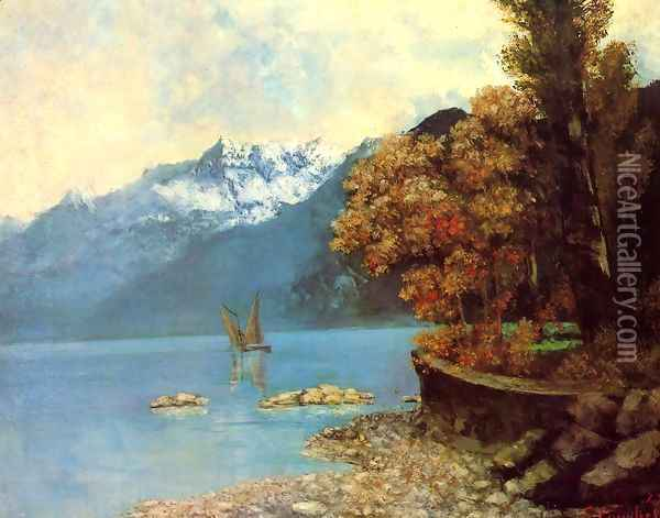 Lake Leman, 1874 Oil Painting - Gustave Courbet
