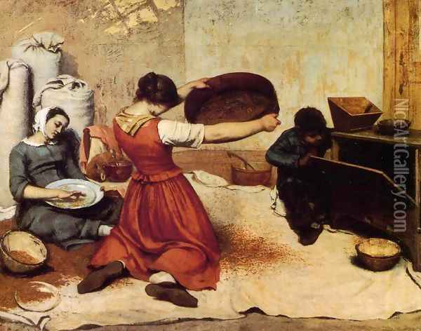 The Grain Sifters Oil Painting - Gustave Courbet