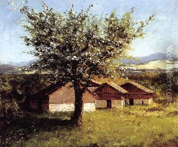 Swiss Landscape with Flowering Apple Tree Oil Painting - Gustave Courbet