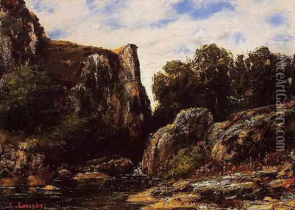 A Waterfall in the Jura Oil Painting - Gustave Courbet