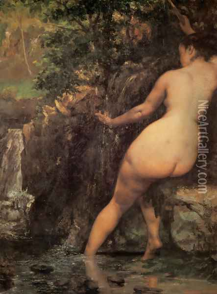The Source or Bather at the Source, 1868 Oil Painting - Gustave Courbet