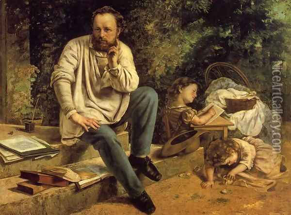 Portrait of P.J. Proudhon in 1853 Oil Painting - Gustave Courbet