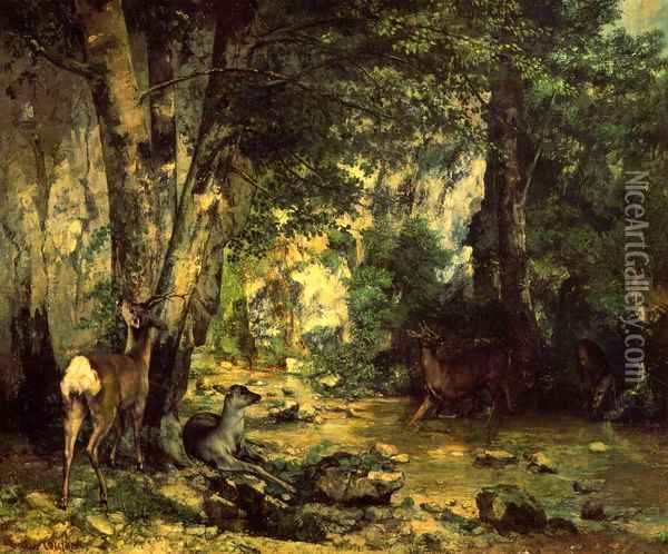 The Shelter of the Roe Deer at the Stream of Plaisir-Fontaine, Doubs Oil Painting - Gustave Courbet