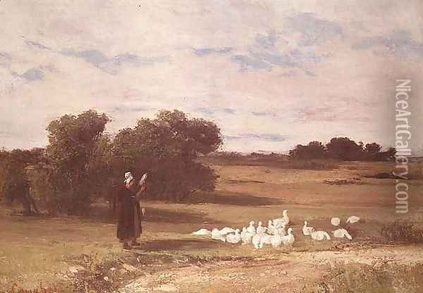 Girl with Geese Oil Painting - Gustave Courbet