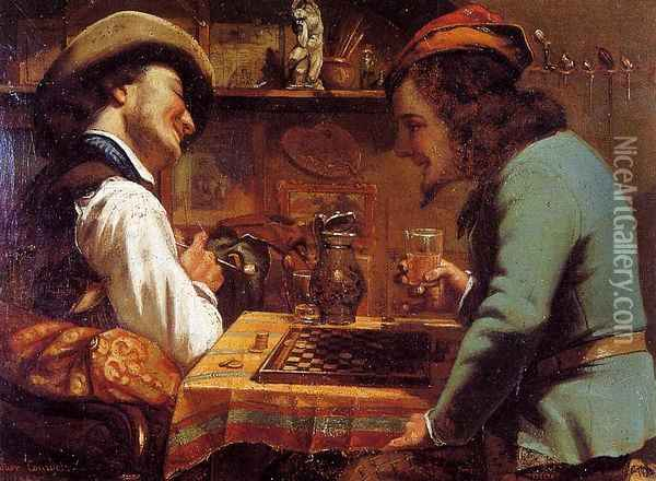 The Draughts Players Oil Painting - Gustave Courbet