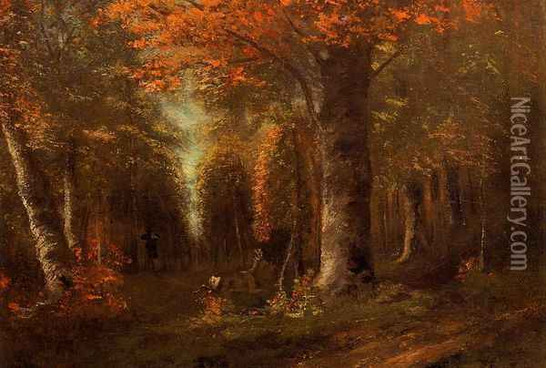 The Forest in Autumn Oil Painting - Gustave Courbet