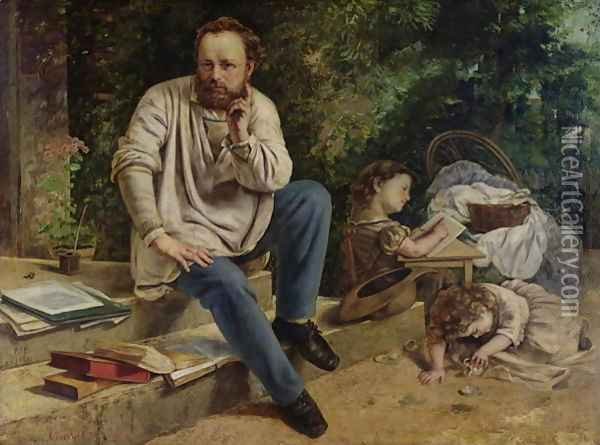 Pierre Joseph Proudhon (1809-65) and his children in 1853, 1865 Oil Painting - Gustave Courbet