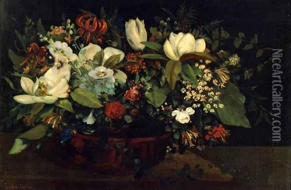 Basket of Flowers Oil Painting - Gustave Courbet