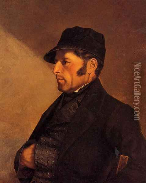 Portrait of the Artist's Father, Regis Courbet Oil Painting - Gustave Courbet