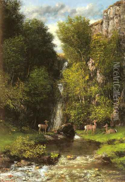 A Family of Deer in a Landscape with a Waterfall Oil Painting - Gustave Courbet