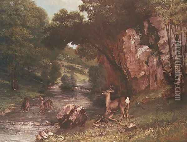 Deer by a River (Chevreuils a la Riviere) Oil Painting - Gustave Courbet