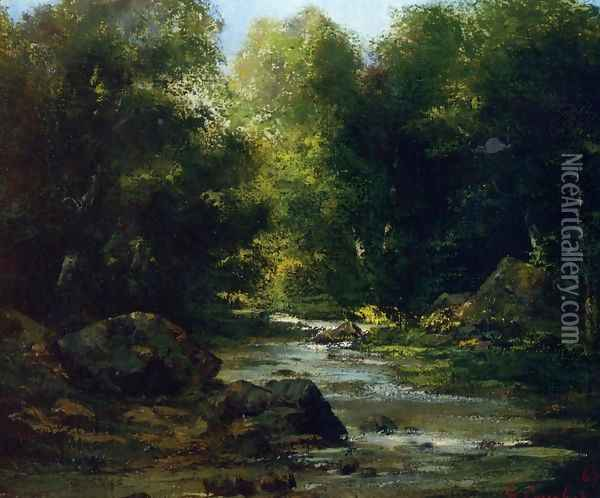 River Landscape Oil Painting - Gustave Courbet