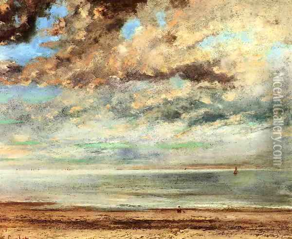 The Beach, Sunset Oil Painting - Gustave Courbet