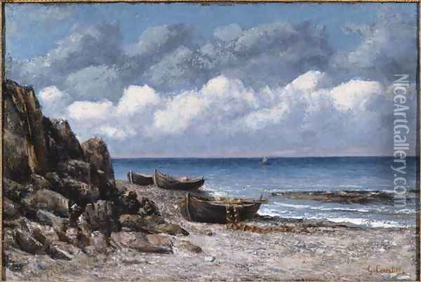 Boats at St. Aubain Oil Painting - Gustave Courbet