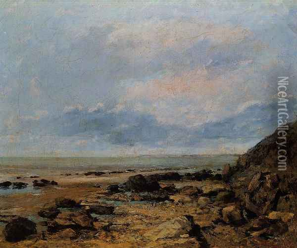 Rocky Seashore Oil Painting - Gustave Courbet