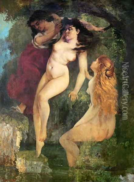 Three Bathers Oil Painting - Gustave Courbet