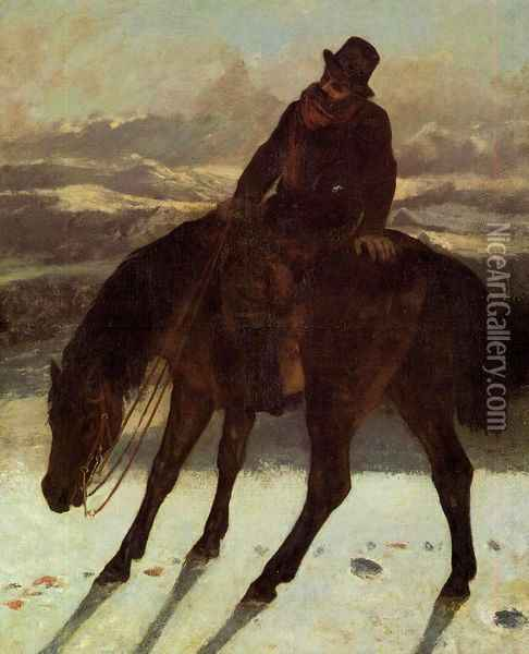 Hunter on Horseback, Redcovering the Trail Oil Painting - Gustave Courbet