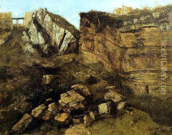 Crumbling Rocks Oil Painting - Gustave Courbet