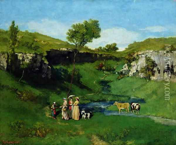 The Village Maidens, 1851 Oil Painting - Gustave Courbet
