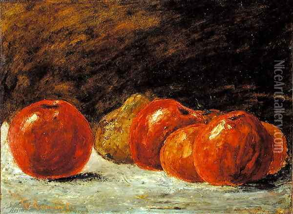 Still Life with Apples Oil Painting - Gustave Courbet