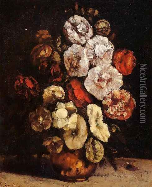Hollyhocks In A Copper Bowl Oil Painting - Gustave Courbet