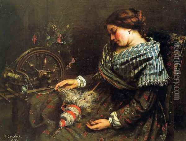 The Sleeping Embroiderer, 1853 Oil Painting - Gustave Courbet