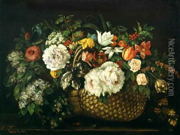 Flowers in a Basket, 1863 Oil Painting - Gustave Courbet