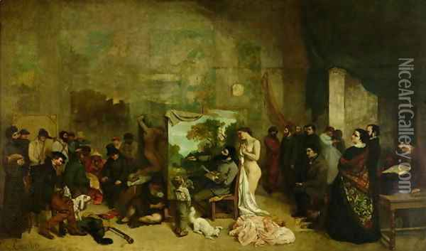The Studio of the Painter, a Real Allegory, 1855 Oil Painting - Gustave Courbet