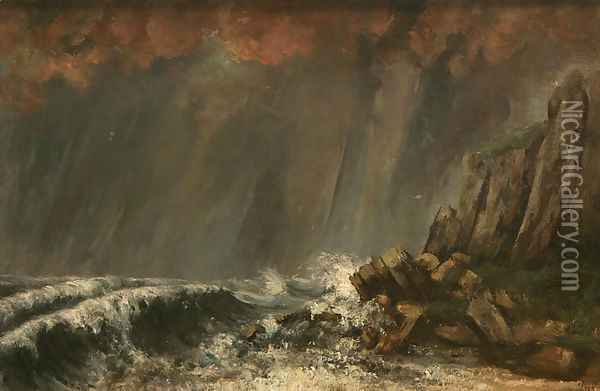 Marine, The Waterspout Oil Painting - Gustave Courbet